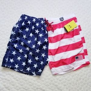 NEW mens swim trunks shorts flag patriotic stars